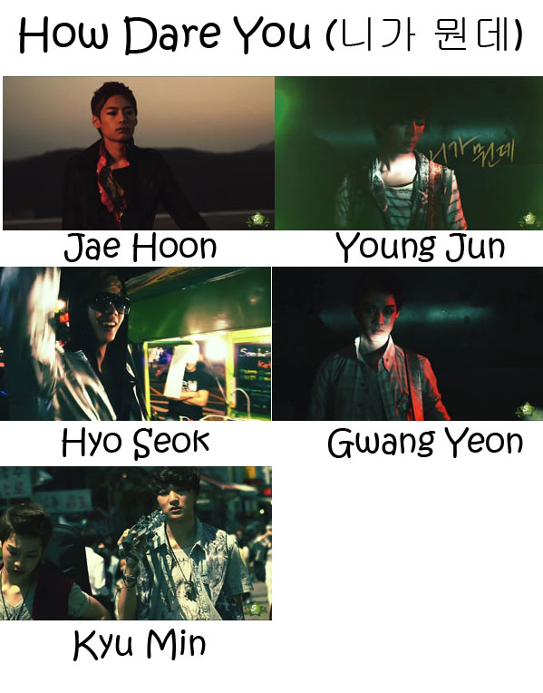 "The members of LED Apple in the ""How Day You"" MV"