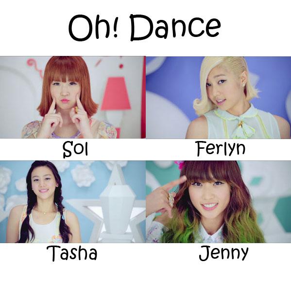 "The members of SKaRF in the ""Oh! Dance"" MV"