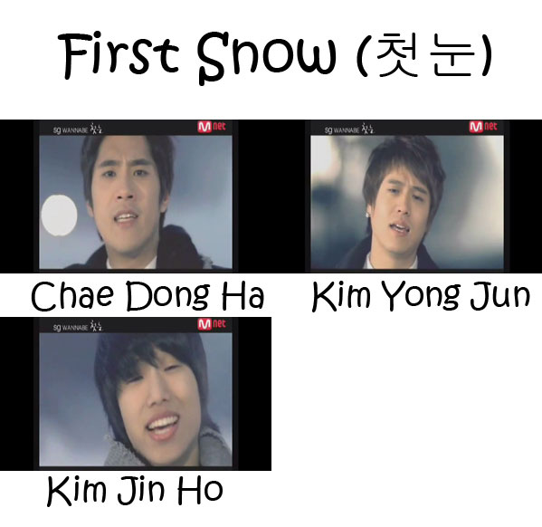"The members of SG Wannabe in the ""First Snow"" MV"