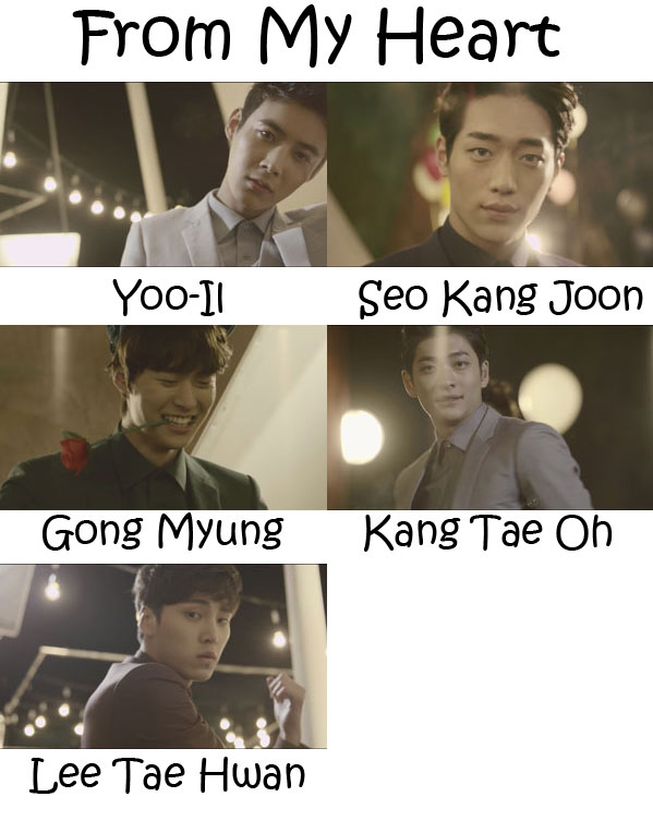 "The members of 5URPRISE in the ""From My Heart"" MV"