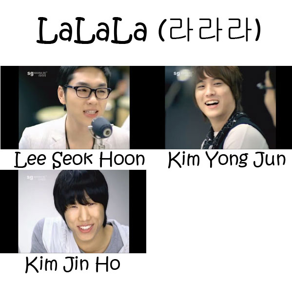 "The members of SG Wannabe in the ""LaLaLa"" MV"