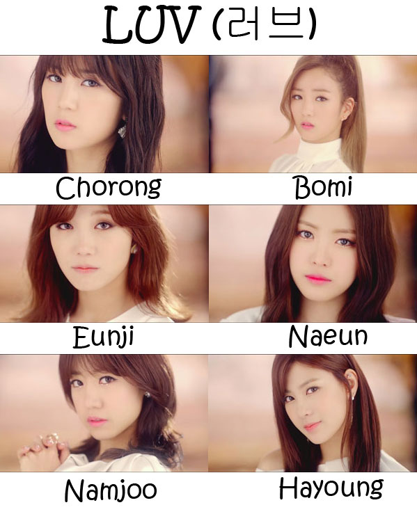 "The members of APink in the ""LUV"" MV"