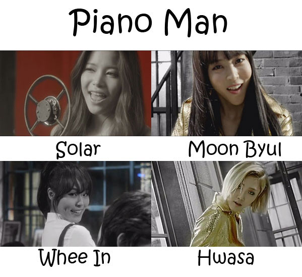 "The members of Mamamoo in the ""Piano Man"" MV"