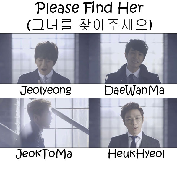 "The members of DiaTree in the ""Please Find Her"" MV"