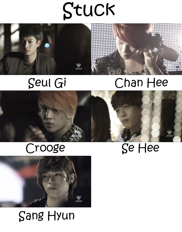 """The members of A.Cian in the """"Stuck"""" MV"""