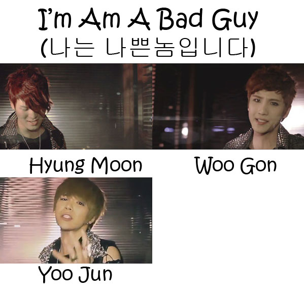 "The members of Tritops in the ""I'm A Bad Guy"" MV"