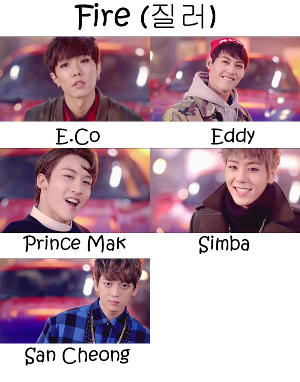 "The members of JJCC in the ""Fire"" MV"