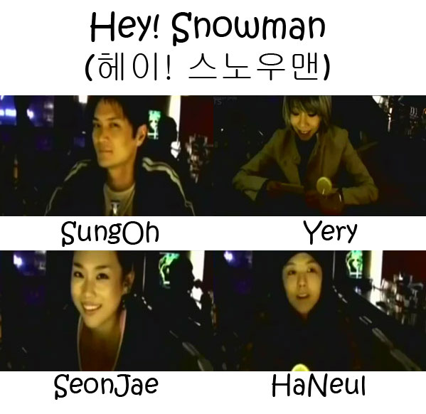 "The members of Yery Band in the ""Hey! Snowman"" MV"