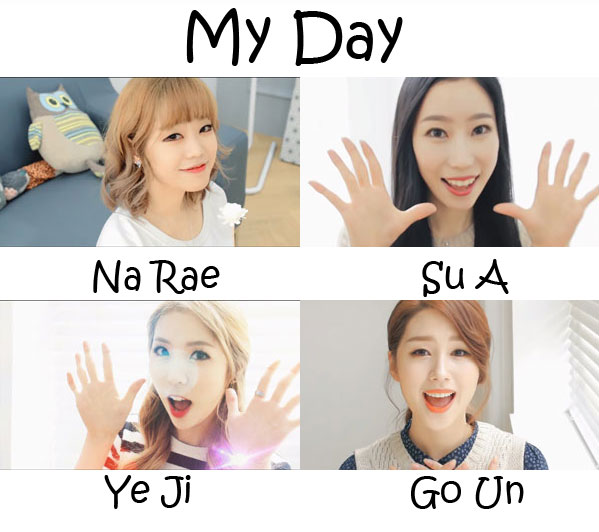 "The members of Flashe in the ""My Day"" MV"