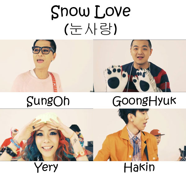 "The members of Yery Band in the ""Snow Love"" MV"