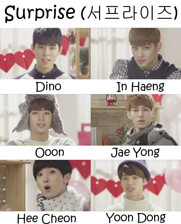 "The members of Halo in the ""Surprise"" MV"