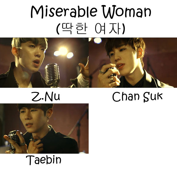 "The members of One.Case in the ""Miserable Woman"" MV"