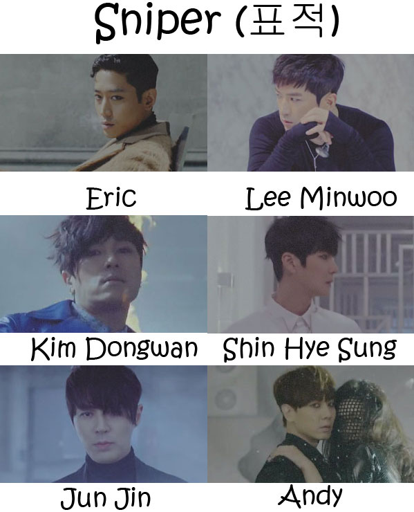 "The members of Shinhwa in the ""Sniper"" MV"