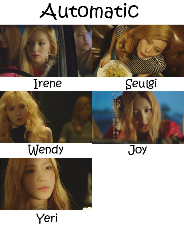 "The membes of Red Velvet in the ""Automatic"" MV"