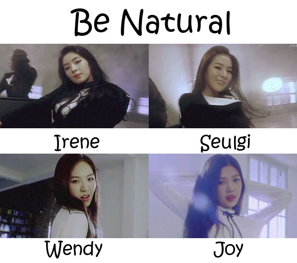 "The members of Red Velvet in the ""Be Natural"" MV"