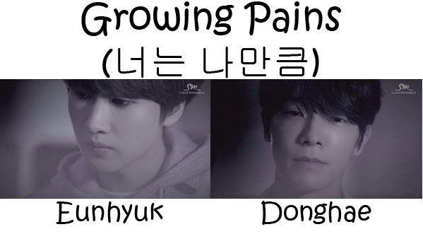 "The members of Super Junior - Donghae & Eunhyuk in the ""Growing Pains"" MV"