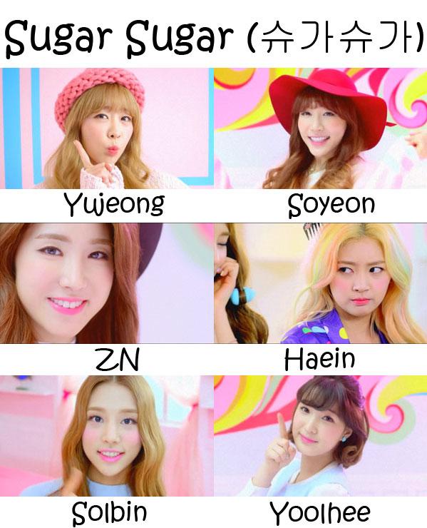 """The members of Laboum in the """"Sugar Sugar"""" MV"""