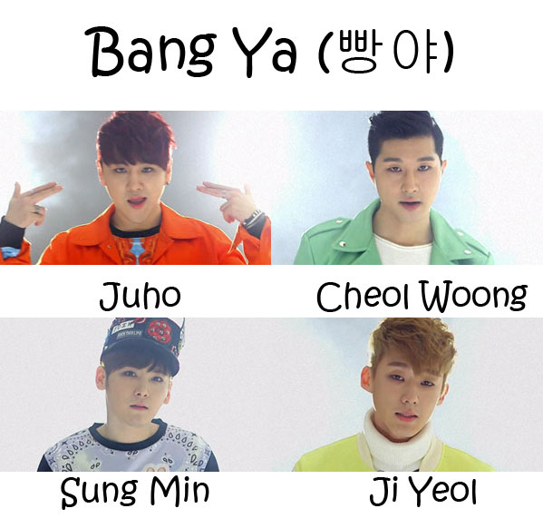 "The members of Able in the ""Bang Ya"" MV"