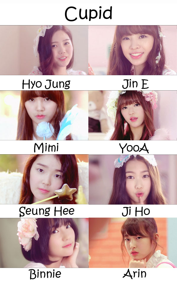 "The members of Oh My Girl (OMG) in the ""Cupid"" MV"