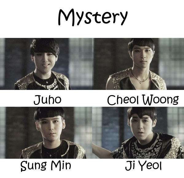 "The members of Able in the ""Mystery"" MV"
