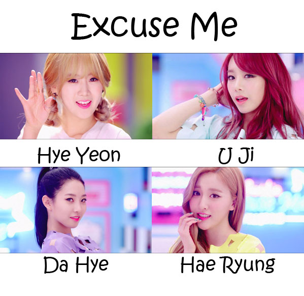 "The members of BESTie in the ""Excuse Me"" MV"