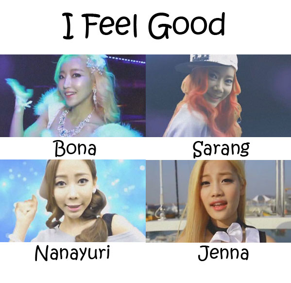 "The members of Cupid in the ""I Feel Good"" MV"