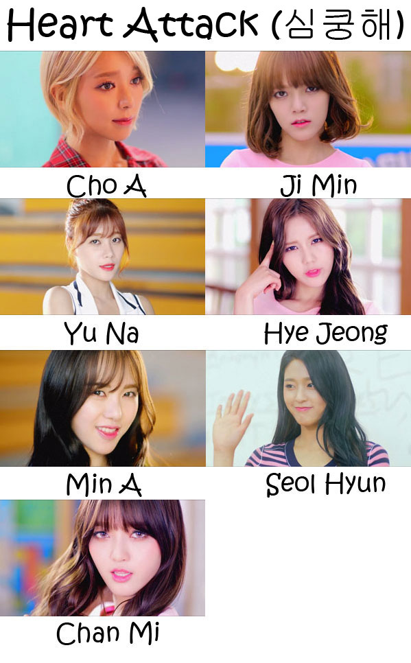 "The members of AOA in the ""Heart Attack"" MV"