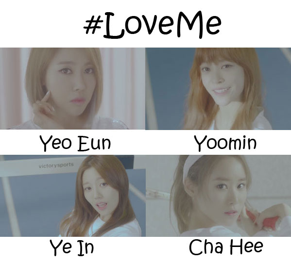 "The members of Melody Day in the ""#LoveMe"" MV"