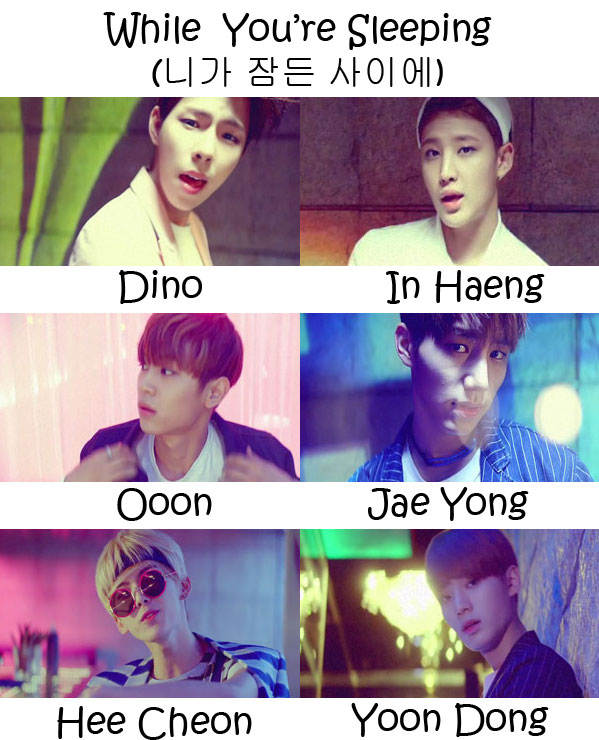 "The members of Halo in the ""While You're Sleeping"" MV"