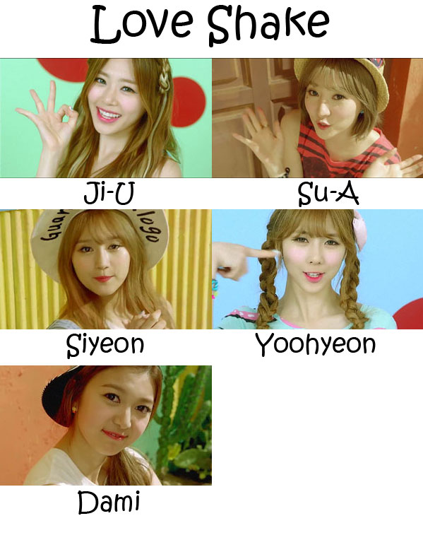 "The members of Minx in the ""Love Shake"" MV"
