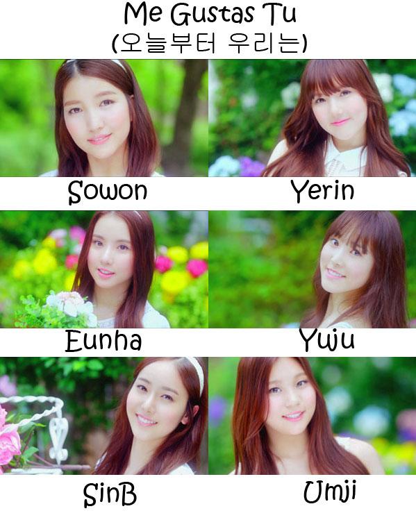 """The members of G.Friend (Girlfriend) in the """"Me Gustas Tu"""" MV"""