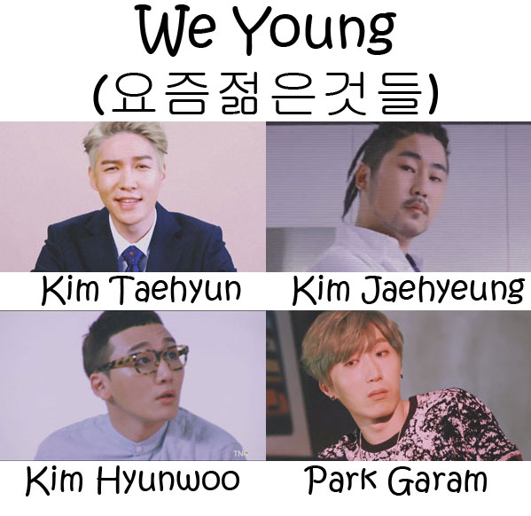 "The members of Dickpunks in the ""We Young"" MV"