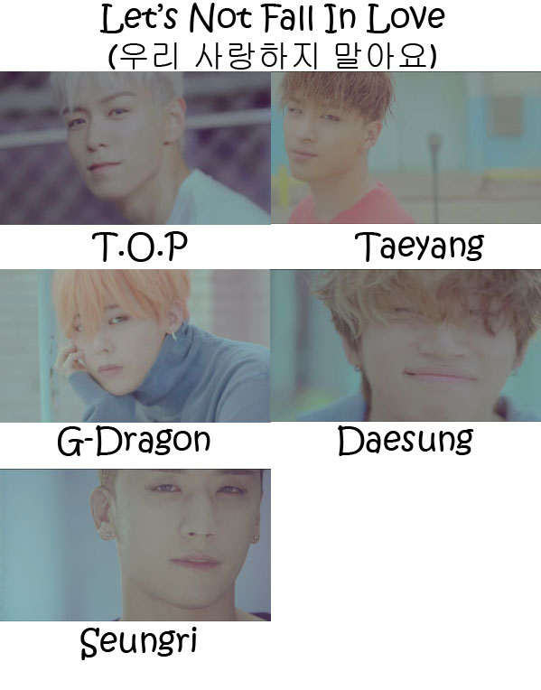 "The members of Big Bang in the ""Let's Not Fall In Love"" MV"