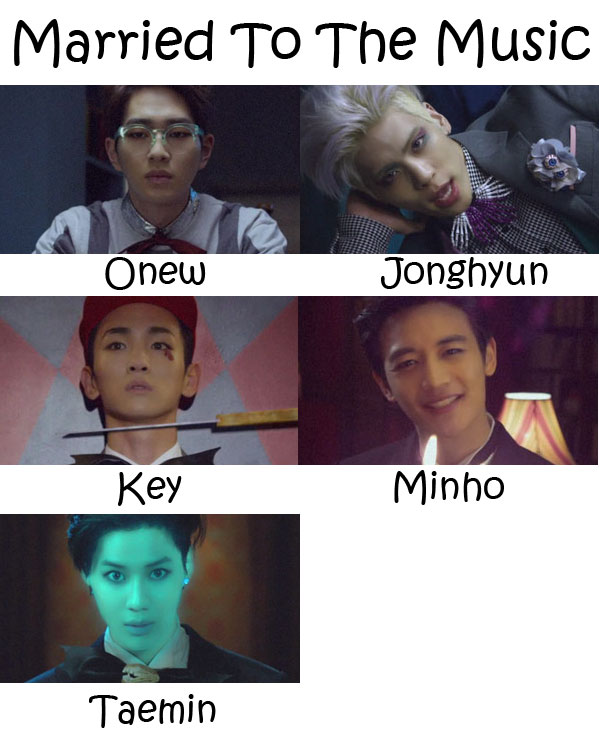 "The members of SHINee in the ""Married To The Music"" MV"
