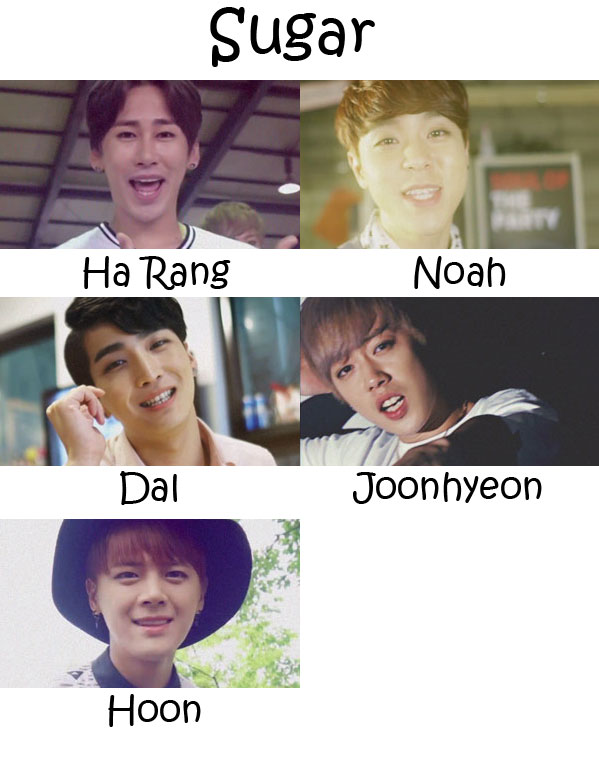"""The members of All-Star in the """"Sugar"""" MV"""