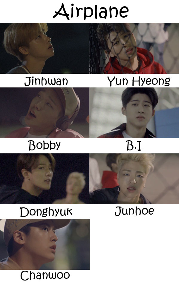 "The members of iKON in the ""Airplane"" MV"