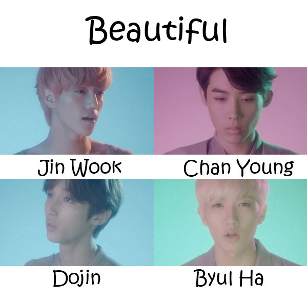 "The members of HeartB in the ""Beautiful"" MV"