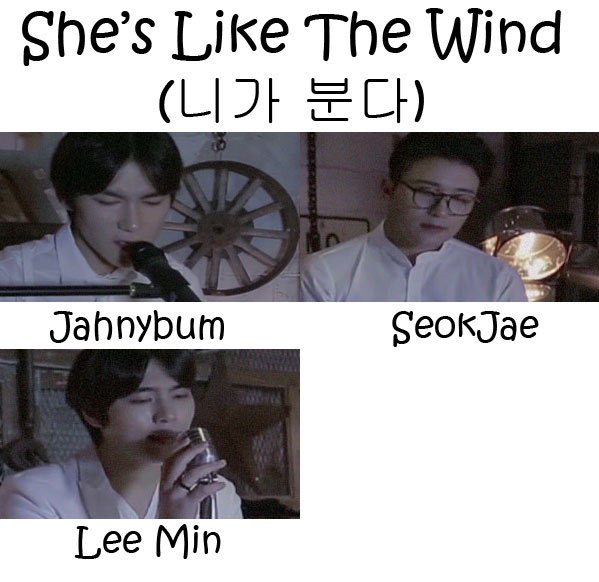 "The members of 6 to 8 in the ""She's Like The Wind"" MV"