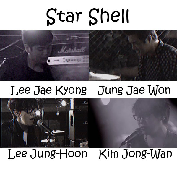 "The members of Nell in the ""Star Shell"" MV"