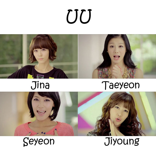 "The members of She'z in the ""UU"" MV"