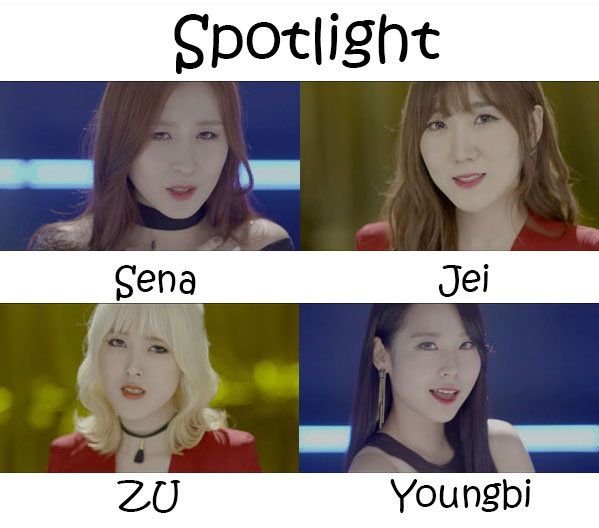 "The members of A-Daily in the ""Spotlight"" MV"