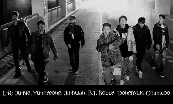 "The members of iKON in the ""Anthem"" MV"