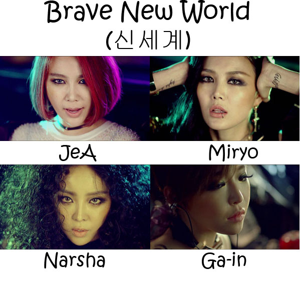 "The members of Brown Eyed Girl's in the ""Brave New World"" MV"