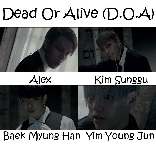 "The members of High4 in the ""Dead Or Alive (D.O.A)"" MV"