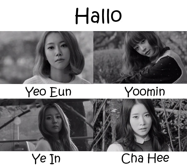 "The members of Melody in the ""Hallo"" MV"