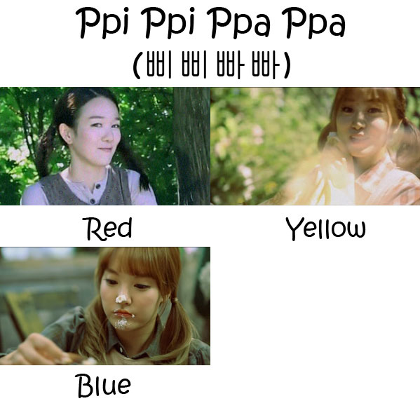 "The members of Pungdeng-E in the ""Ppi Ppi Ppa Ppa"" MV"