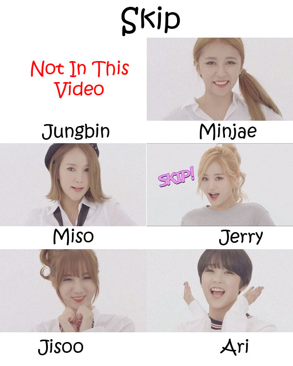 "The members of Tahiti in the ""Skip"" MV"