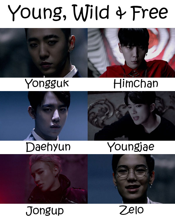 "The members of B.A.P in the ""Young, Wild & Free"" MV"