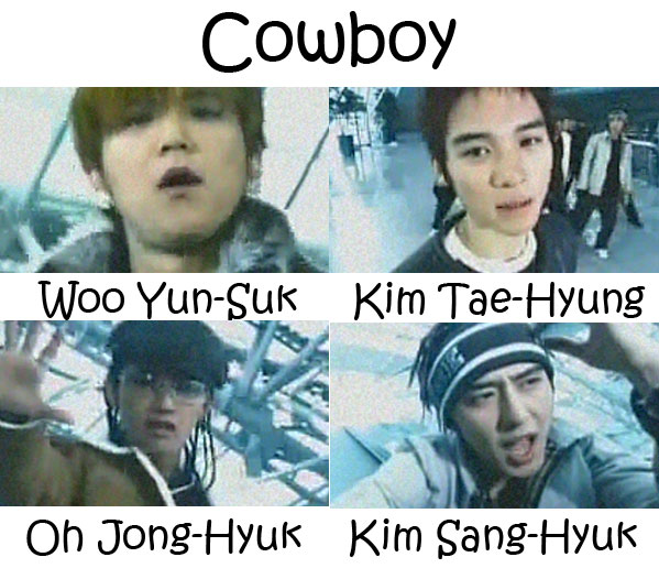 "The members of Click-B in the ""Cowboy"" MV"