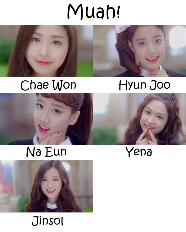"The members of April in the ""Muah!"" MV"